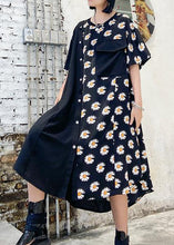 Load image into Gallery viewer, 100% o neck asymmetric cotton clothes Shirts black print cotton robes Dress