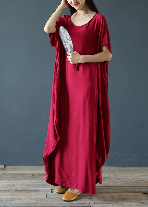 100% o neck exra large hem summer clothes Sleeve burgundy Maxi Dress