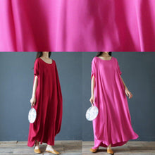 Load image into Gallery viewer, 100% o neck exra large hem summer clothes Sleeve burgundy Maxi Dress