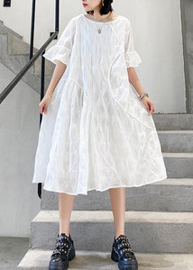 100% o neck flare sleeve cotton tunics for women Fabrics white dotted Dresses