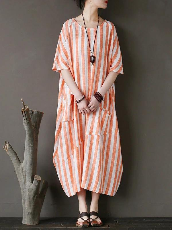 100% o neck patchwork cotton dress Tutorials orange striped Kaftan Dresses
