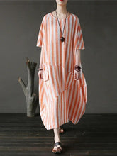 Load image into Gallery viewer, 100% o neck patchwork cotton dress Tutorials orange striped Kaftan Dresses