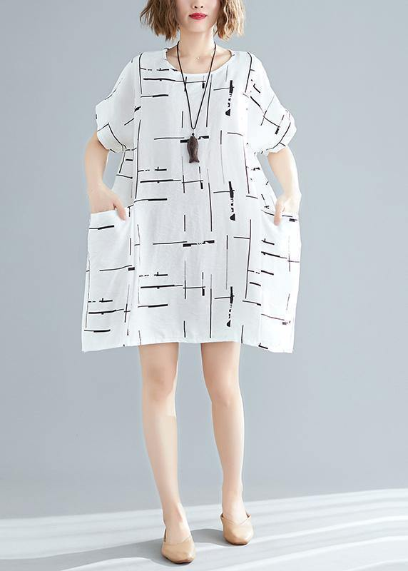 100% o neck pockets Cotton blended clothes For Women stylish Wardrobes white print short Dress Summer