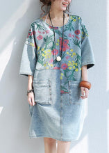 Load image into Gallery viewer, 100% o neck pockets Cotton quilting dresses Catwalk floral Dresses