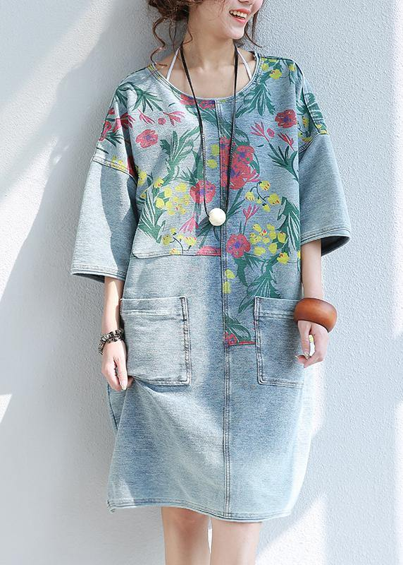 100% o neck pockets Cotton quilting dresses Catwalk floral Dresses