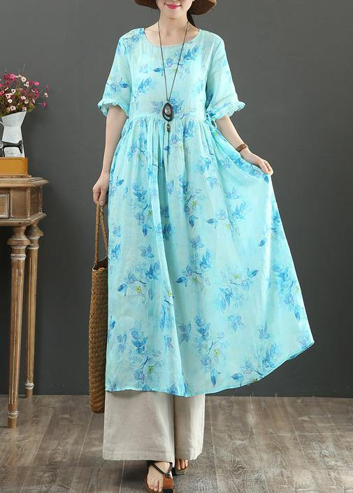 100% o neck Cinched linen summer dresses design blue print Dresses
