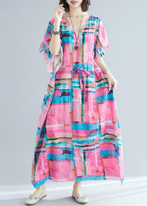 100% pink print Tunics v neck drawstring long summer Dresses