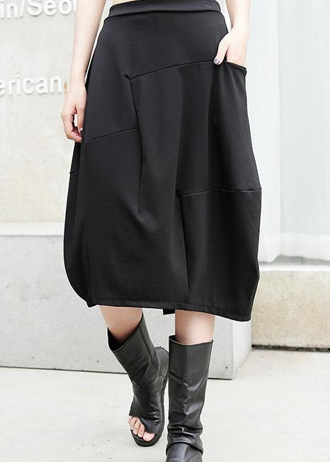 100% pockets cotton skirt black A Line patchwork skirt