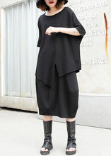 Load image into Gallery viewer, 100% pockets cotton skirt black A Line patchwork skirt