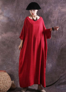 100% solid color cotton quilting clothes Catwalk red o neck Dresses summer