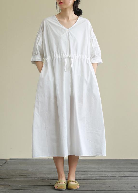100% white cotton tunic pattern v neck drawstring Maxi Dress