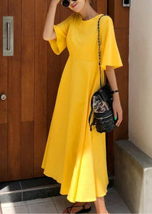 100% yellow cotton linen Long Shirts flare sleeve Bow loose summer Dress
