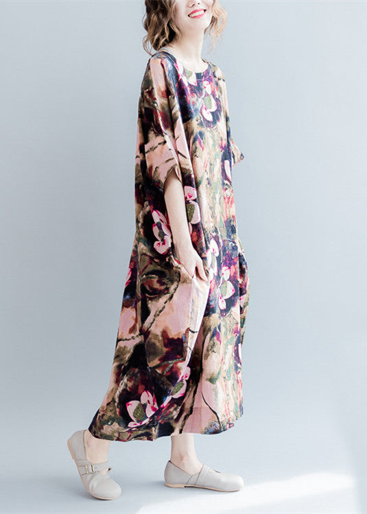 fine pink prints linen dresses casual o neck linen maxi dress fine short sleeve linen caftans