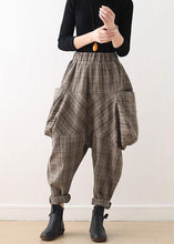 Load image into Gallery viewer, 19 original design literary loose knitted brown plaid harem pants