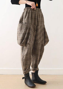 19 original design literary loose knitted brown plaid harem pants