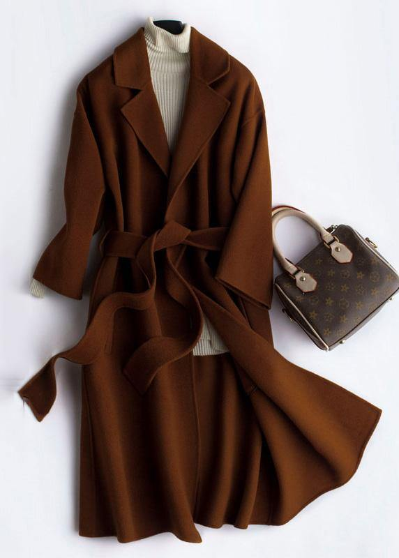 Luxury Oversize Trench Coat  Coat Brown Notched Tie Waist Woolen Coat Women