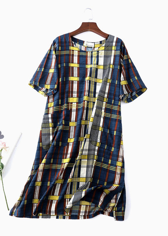 Women O Neck Tunic Dress Lnspiration Blue Plaid Maxi Dress
