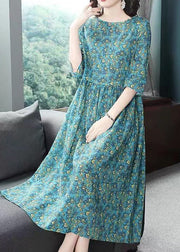 Fine Cotton Dress Plus Size Clothing Floral Printed Summer Dress