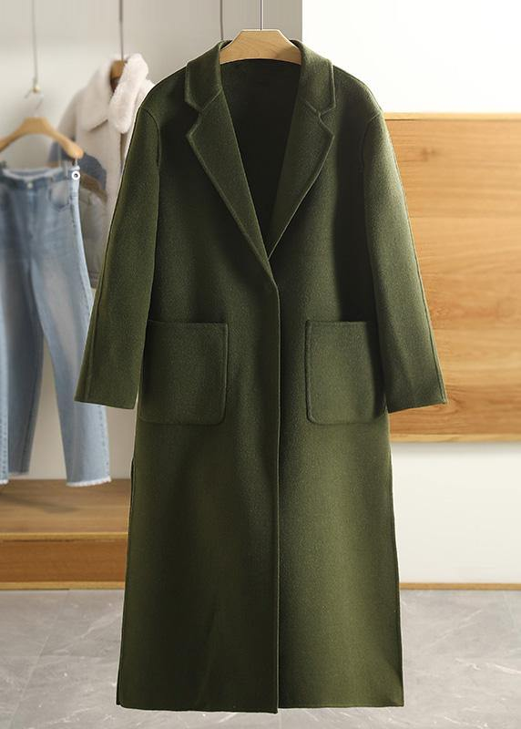 Luxury Army Green Wool Overcoat Casual Notched Pockets Winter Coat