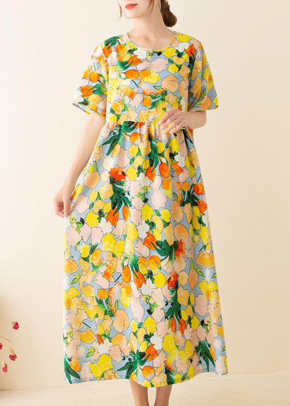 Italian Yellow Print Tunics O Neck Patchwork Loose Summer Dresses