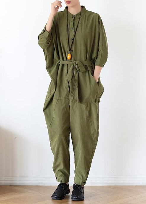 2020 Fall army green original design retro slim drawstring one-piece overalls