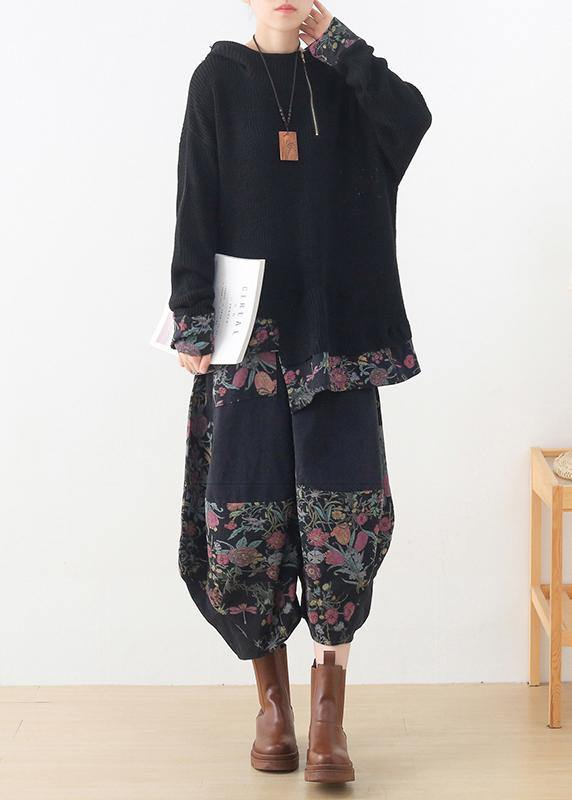 20 new zipper asymmetric black print Hoodie and patchwork wide leg pants