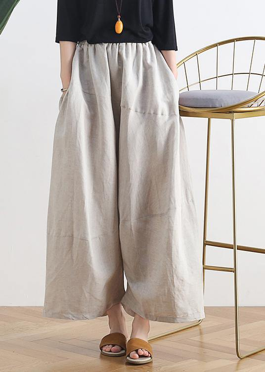 20 summer stitching thin women's new cotton and linen nude wide-leg pants