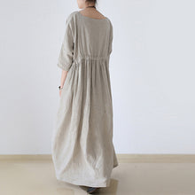 Load image into Gallery viewer, 2017 autumn Nude natural linen caftans plus size linen dresses drawstring waist design flattering dress