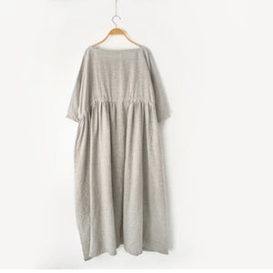 2017 autumn Nude natural linen caftans plus size linen dresses drawstring waist design flattering dress