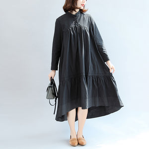 2017 autumn black butterfly hem cotton dresses oversize casual maxi dress