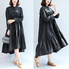Load image into Gallery viewer, 2017 autumn black butterfly hem cotton dresses oversize casual maxi dress