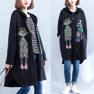 2017 autumn black print cotton coats plus size low high hooded trench coats