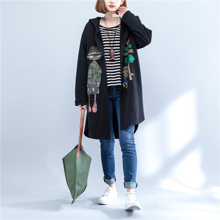 2021 autumn black print cotton coats plus size low high hooded trench coats