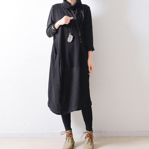 2017 autumn black shoulder zipper linen dresses cotton patchwork caftans  plus size gowns