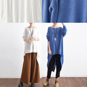 2021 autumn blue low high silk blouses oversized cotton blouses stylish tops