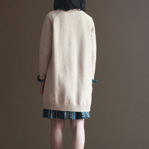 2017 autumn chocolate the rabbit woolen blended knit cardigans vintage plus size sweater coats