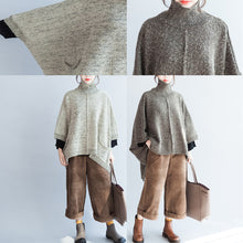 Load image into Gallery viewer, 2017 autumn fashion cotton knitted sweater oversize batwing sleeve large hem sweater pullover
