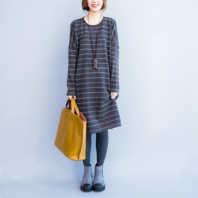 2021 autumn gray casual knit dresses plus size striped sweater dress