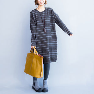 2017 autumn gray casual knit dresses plus size striped sweater dress