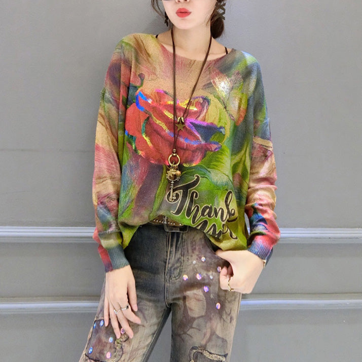 2017 autumn new roses prints cotton knit tops plus size lon sleeve sweater