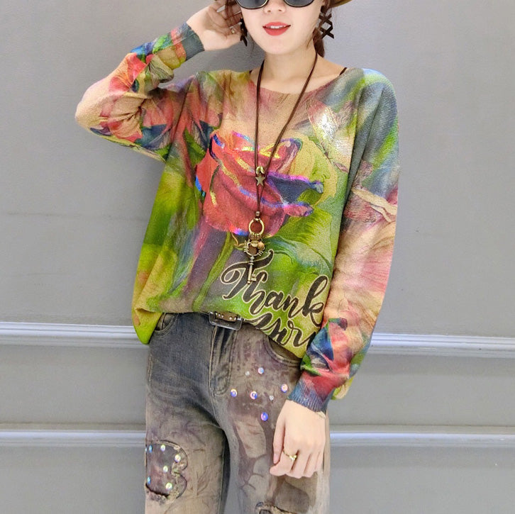 2021 autumn new roses prints cotton knit tops plus size lon sleeve sweater