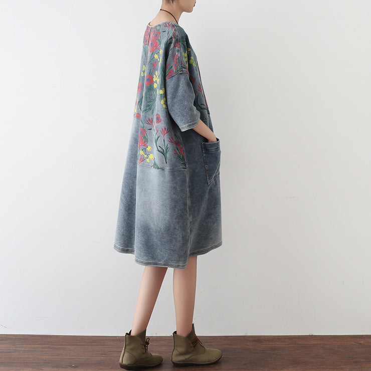 2021 autumn oversize denim dresses blooming flowers casual denim shirts