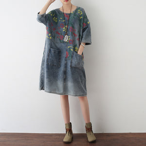 2017 autumn oversize denim dresses blooming flowers casual denim shirts