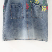 Load image into Gallery viewer, 2017 autumn oversize denim dresses blooming flowers casual denim shirts