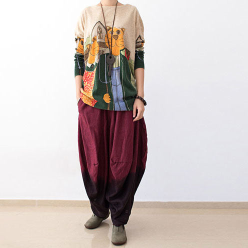 2017 autumn pants gradient burgundy linen pants loose harem pants