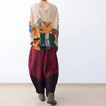 Load image into Gallery viewer, 2017 autumn pants gradient burgundy linen pants loose harem pants