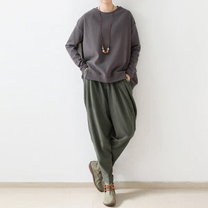 2021 autumn tea green linen pants oversized cotton harem pants trousers