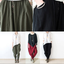Load image into Gallery viewer, 2017 autumn tea green linen pants oversized cotton harem pants trousers