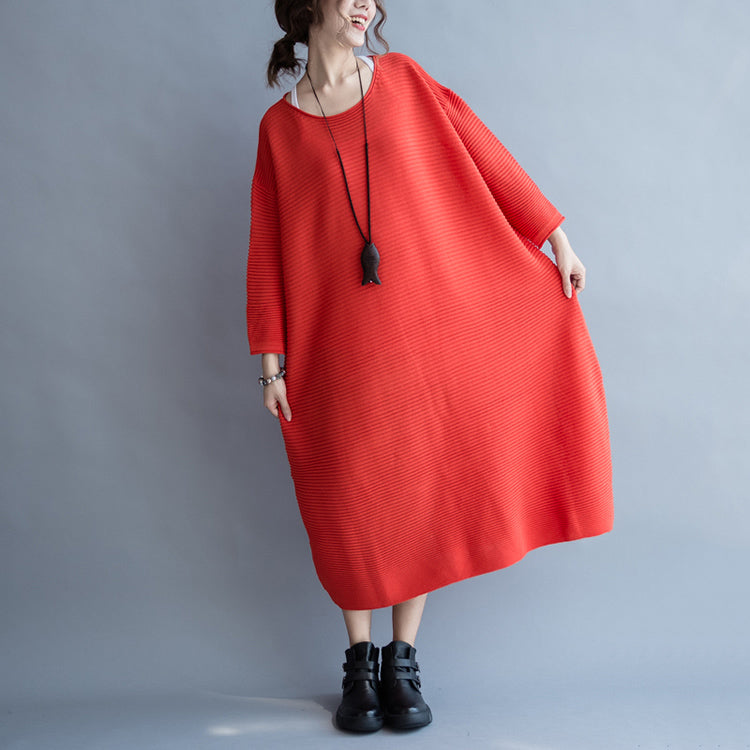 2021 autumn thick red sweater dresses plus size casual knit dress