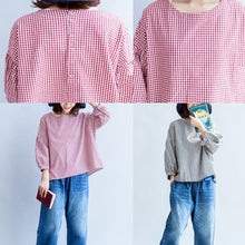 Load image into Gallery viewer, 2017 autumn thin cotton tops loose back button black white plaid t shirt